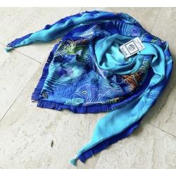 Foulard ByPa bleu à franges